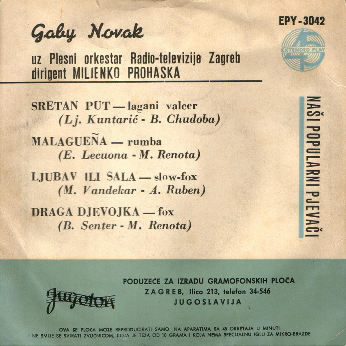 Gabi Novak 1959 Sretan put B